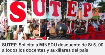COMUNICADO SUTEP: DOCENTES Y AUXILIARES SERAN DESCONTADOS EN EL MES DE FEBRERO