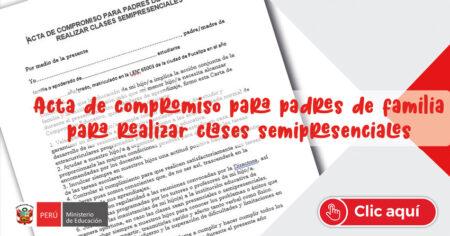 Acta de compromiso para padres de familia para realizar clases semipresenciales