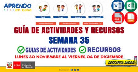 💻SEMANA 35📱 ACTIVIDADES y RECURSOS de APRENDO en CASA