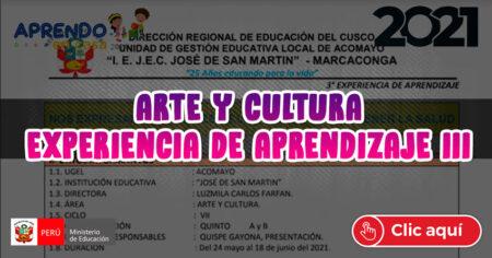 ARTE Y CULTURA EXPERIENCIAS DE APRENDIZAJE N° 3