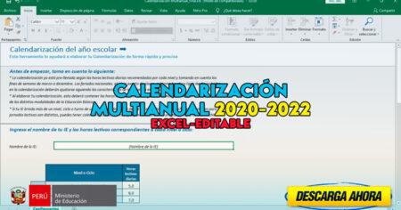 PLANTILLA EXCEL para la CALENDARIZACIÓN MULTIANUAL 2020-2022