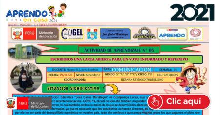 COMUNICACIÓN 5° - Del 19 al 26 de abril