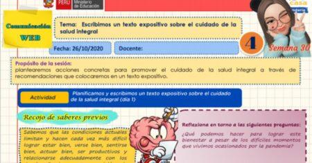 SESIÓN DE COMUNICACIÓN WEB 4° SEMANA 30