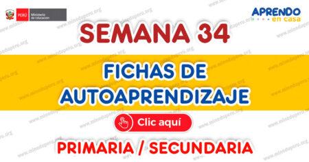 FICHAS DE AUTOAPRENDIZAJE SEMANA 34  PLATAFORMA EDUCATIVA APRENDO EN CASA