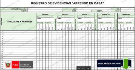🔥Formato para registro de evidencias (Excel) Aprendo en Casa🔥