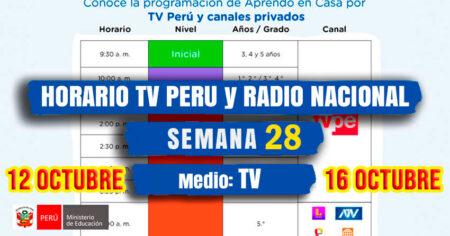 HORARIO TV PERU y RADIO NACIONAL SEMANA 28 APRENDO EN CASA