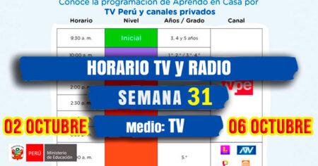 HORARIO TV📺 PERU y 📻RADIO NACIONAL SEMANA 31 APRENDO EN CASA