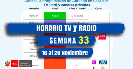 HORARIO TV📺 PERU y 📻RADIO NACIONAL SEMANA 33 - APRENDO EN CASA