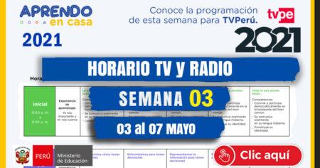 Horario TV📺  PERU y RADIO📻 NACIONAL SEMANA 03 - 2021