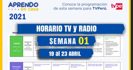 Horario 📺TV PERU y 📻RADIO NACIONAL SEMANA 01 - 2021