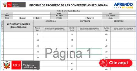 FABULOSO REGISTRO DE PROGRESO DE LAS COMPETENCIAS SEGUNDARIA