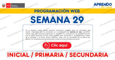 PROGRAMACIÓN WEB SEMANA 29 (LUNES 19 de OCTUBRE al VIERNES 23 OCTUBRE INICIAL PRIMARIA Y SECUNDARIA