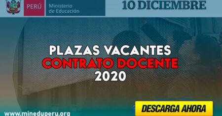Estas son las PLAZAS VACANTES para Contratación Docente 2020