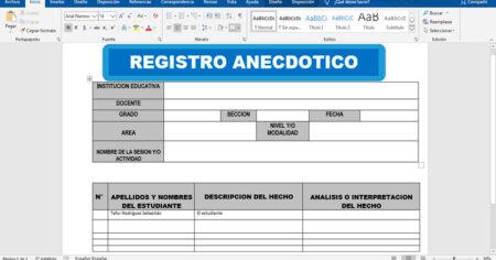 Registro anecdótico de estudiantes
