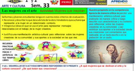 SESION ARTE Y CULTURA 1° 2° SEMANA 33