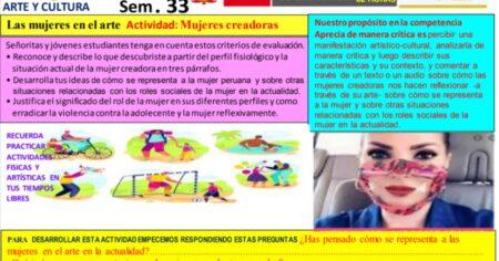 SESIÓN ARTE Y CULTURA 3°, 4°, 5° - SEMANA 33