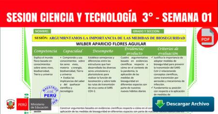 SESION CIENCIA y TECNOLOGÍA  3° - SEMANA 01 - 2021