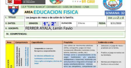 SESION DE EDUCACION FISICA 1° y 2° GRADO SEMANA 32