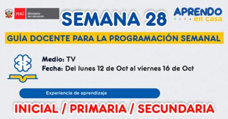 GUÍA DOCENTE TV📺 y RADIO📻 para la PROGRAMACIÓN SEMANAL 28 – LUNES 12 de OCTUBRE al VIERNES 16 OCTUBRE, INICIAL, PRIMARIA Y SECUNDARIA